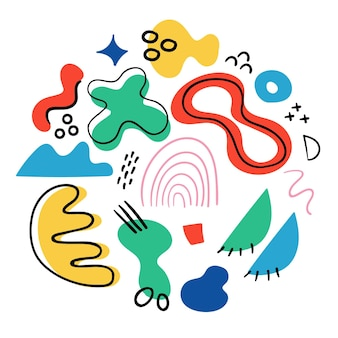 手描きの抽象的な形パック