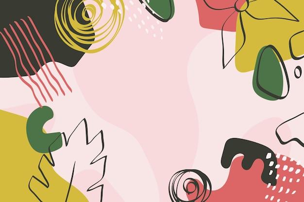 葉と手描きの抽象的な形の背景