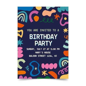 Hand drawn abstract shapes birthday invitation template