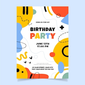 手描きの抽象的な形の誕生日の招待状のテンプレート