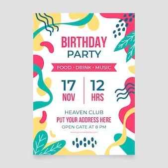 Шаблон приглашения на день рождения с абстрактными формами