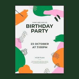 Invito di compleanno di forme astratte disegnate a mano
