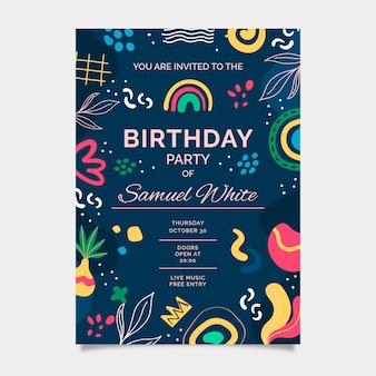Ручной обращается абстрактные формы приглашение на день рождения