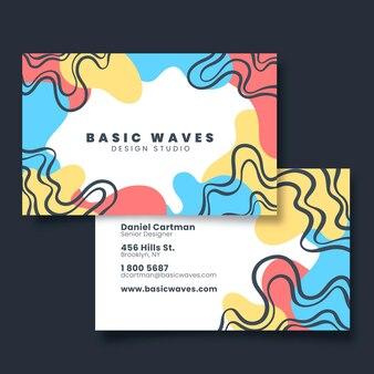 Рисованной абстрактные формы визитной карточки спереди и сзади