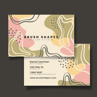 Hand drawn abstract shapes business card front and back