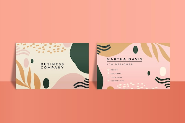 Hand drawn abstract shapes business card template