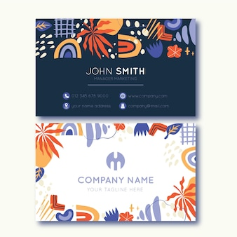 Hand drawn abstract shapes business cards design