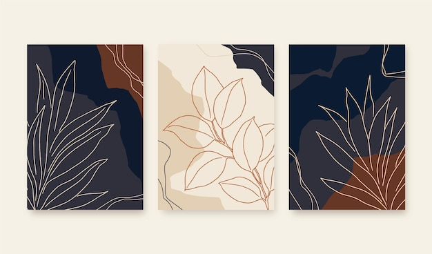 Collezione di copertine di forme astratte disegnate a mano