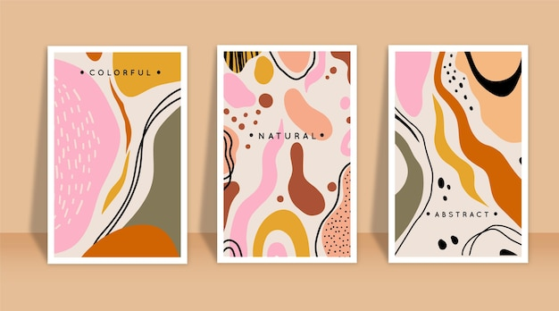 Hand drawn abstract shapes covers collection