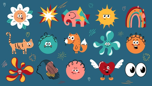 Рисованные абстрактные формы забавных милых комических персонажей