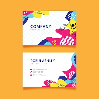Hand drawn abstract shapes horizontal business card template