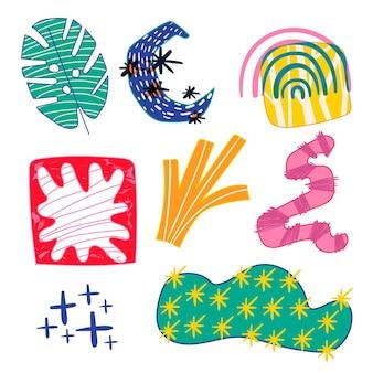 Pacchetto di forme astratte disegnate a mano