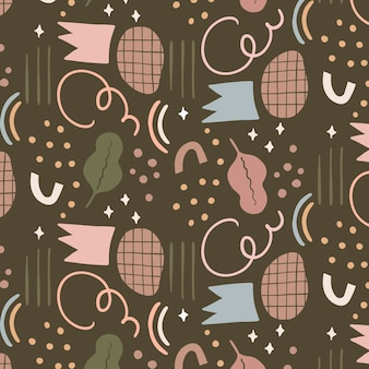 Hand drawn abstract shapes pattern design