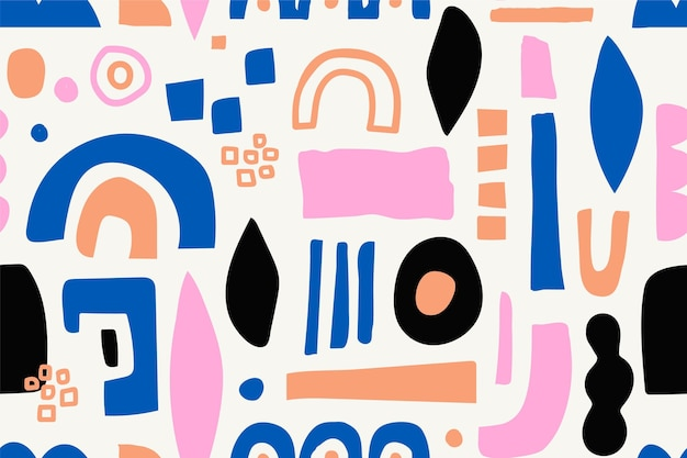 Hand drawn abstract shapes pattern