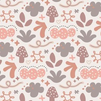 손으로 그린된 추상적인 모양 패턴