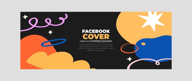Hand drawn abstract shapes social media cover template