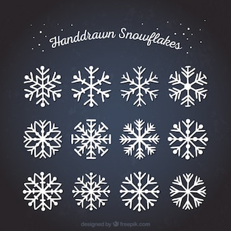 Hand drawn abstract snowflakes