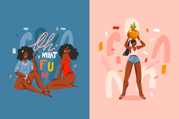 Hand drawn abstract stock flat graphic illustration cards set with young ,happy black afro american beauty women in swimsuit and lettering fun quote isolated on color pastel background.
