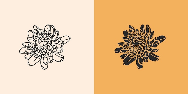 Hand drawn abstract stock flat graphic illustration with logo elements set,chrysanthemum autumn line flowers and silhouette,magic art in simple style