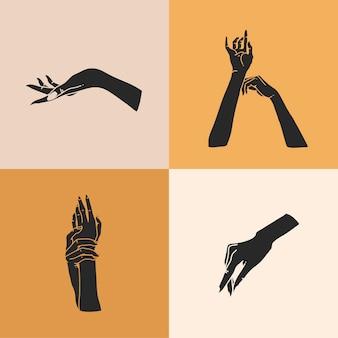 Нарисованная рукой абстрактная стоковая плоская графическая иллюстрация с набором элементов логотипа, силуэтами человеческих рук, линией, магическим искусством в простом стиле