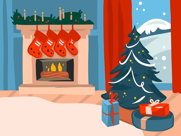 Hand drawn abstract stock flat merry christmas,and happy new year cartoon festive illustrations of big decorated fireplace and xmas tree in holiday home interior isolated on color background.