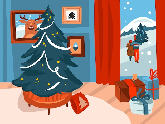 Hand drawn abstract stock flat merry christmas,and happy new year cartoon festive illustrations of big decorated xmas tree in holiday home interior isolated on color background.