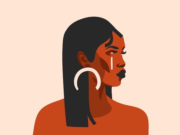 Нарисованная рукой абстрактная графическая иллюстрация с этнической племенной черной красивой женщиной и золотым полнолунием в простом стиле на белом фоне