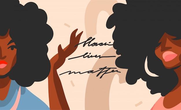 手は、若いアフロ美容女性と抽象的なストックグラフィックイラストを描画し、黒の生活は、色のコラージュ図形の背景に手書き文字の概念を住んでいます。