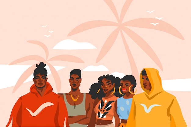 Hand drawn  abstract stock  graphic illustration with young black  beauty people group in fashion outfit on sundown view scene on the beach  on pink pastel background