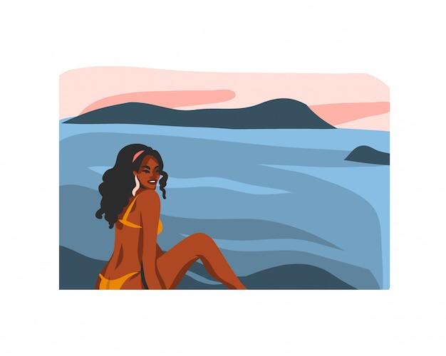 白い背景の上の日没のビーチのシーンで水着姿の若い幸せなアフロ美容女性と手描きの抽象的なストックグラフィックイラスト。