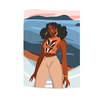 Hand drawn  abstract stock  graphic illustration with young happy  afro  beauty female tourist on sundown beach scene  on white background.
