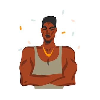 白い背景で隔離のファッションの衣装で、若い幸せな黒人アフリカ系アメリカ人の美人と手描きの抽象的なストックグラフィックイラスト。