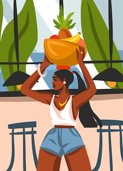 Нарисованная рукой абстрактная графическая иллюстрация с молодой счастливой черной афро-американской красавицей женского пола, несет корзину фруктов на голове в городском кафе, изолированном на белом фоне.