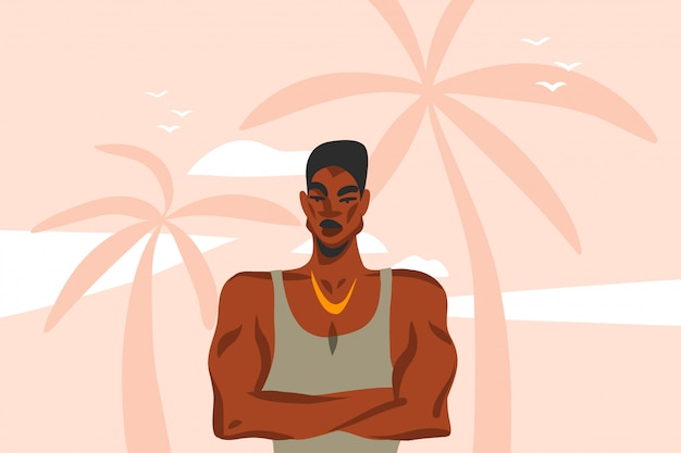 Hand drawn  abstract stock graphic illustration with young happy black  beauty man, in fashion outfit on palm tree beach scene  on pink pastel background
