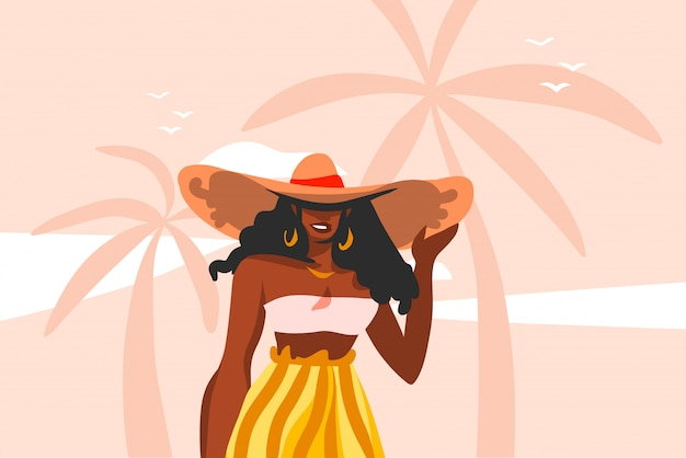 Hand drawn  abstract stock  graphic illustration with young ,happy black  beauty woman in swimsuit on sundown view scene on the beach  on pink pastel background