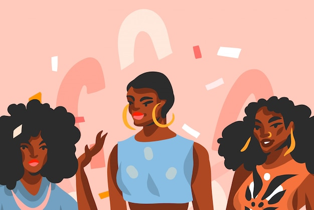 Hand drawn  abstract stock  graphic illustration with young ,happy black  beauty women friends group  on pink pastel collage shape background