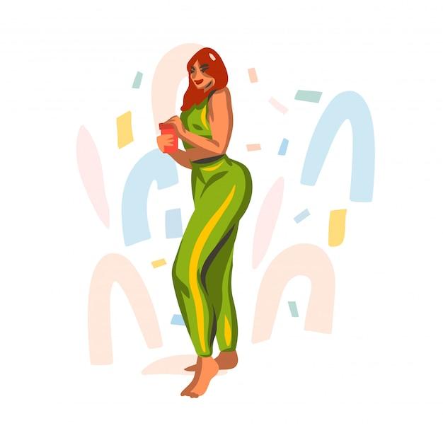 Ручной обращается абстрактные графические иллюстрации с молодой счастливой женщиной пьет воду из шейкер во время спортивной тренировки на белом фоне