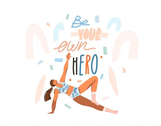집에서 젊은 행복 여성 훈련 운동으로 손으로 그린 추상 스톡 그래픽 일러스트와 흰색 콜라주 배경에 고립 된 자신의 영웅 필기 문자 수