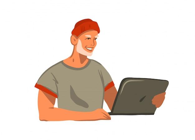 ラップトップコンピューターで作業し、白い背景でチャット若い笑顔ファッション服ひげ男性と手描きの抽象的なストックグラフィックイラスト