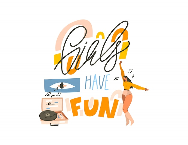Hand drawn  abstract stock graphic illustration with young smiling happy female ,dancing at home and listen music on vinyl record playerand girls have fun text  on white background
