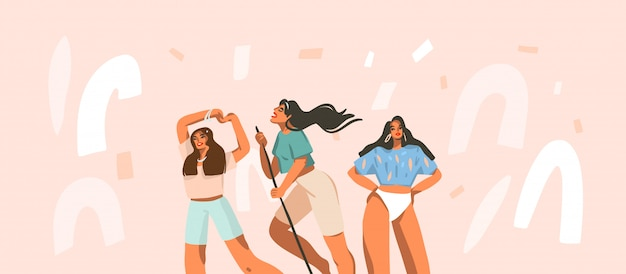 Hand drawn  abstract stock graphic illustration with young smiling happy females group have everyday positive routine at home  on white confetti background.