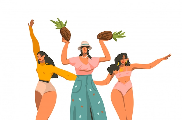 Ручной обращается абстрактные графические иллюстрации с молодой улыбкой положительной счастливой группы женщин, изолированных на белом фоне