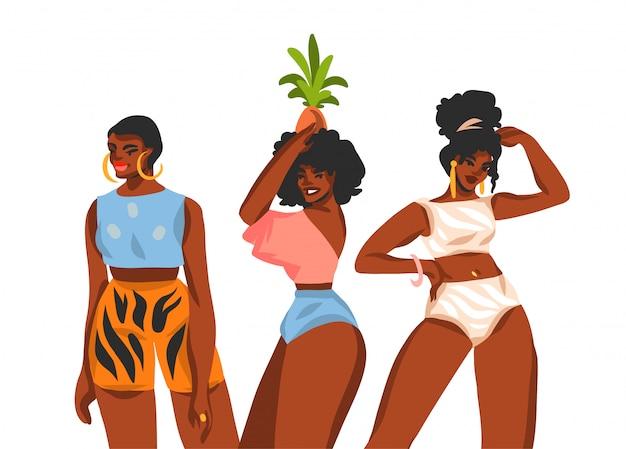 흰색 배경에 젊은 미소 긍정적 인 행복한 여성 그룹 초상화와 손으로 그린 추상 스톡 그래픽 일러스트