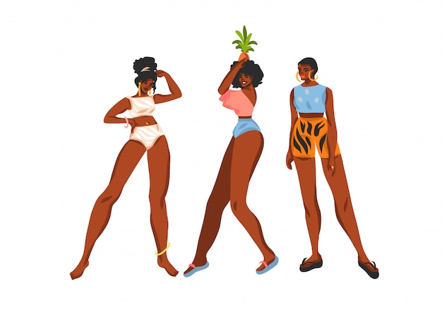 Hand drawn   abstract stock  illustration collection set with young happy   , beauty females in swimsuit and beach hat  on white background