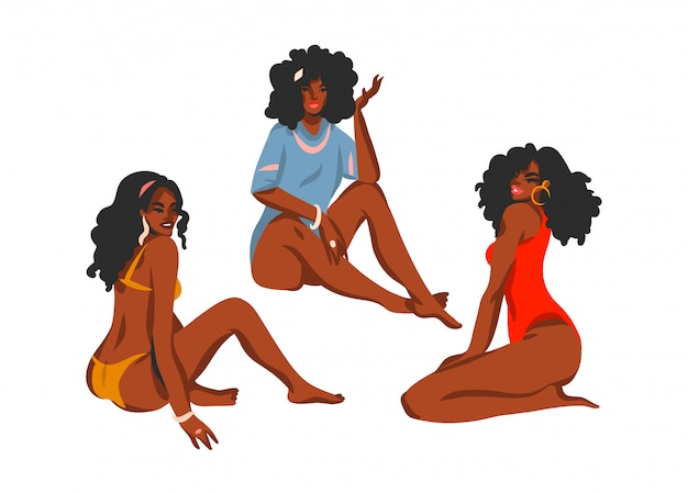 Hand drawn   abstract stock  illustration collection set with young happy positive   , beauty females in swimsuits sitting on beach  on white background.