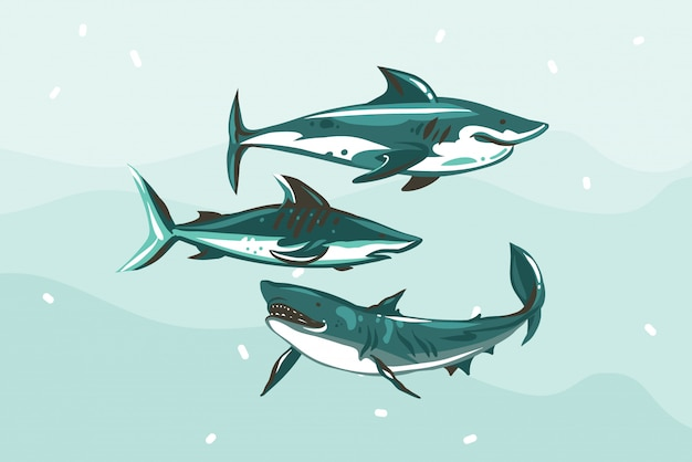 Hand drawn  abstract stock   illustration with underwater swimming shark drawing collection set  on blue color background