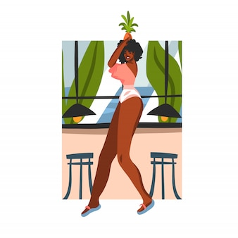 Hand drawn  abstract stock  illustration with young happy    beauty female, and pineapple fruit on his head in beach cafe scene  on white background