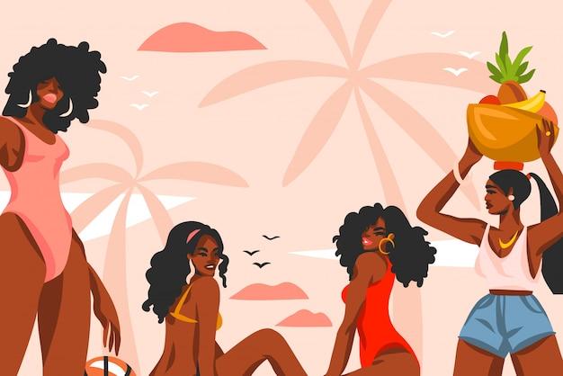 ピンクのパステル調の背景にビーチの日没ビューシーンで水着姿の若い、幸せな美しさの女性グループと手描きの抽象的なストックイラスト。