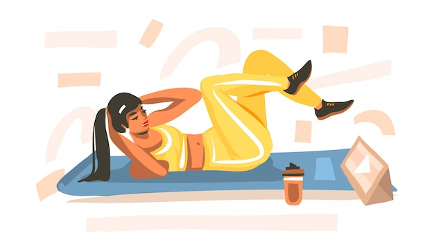 Hand drawn  abstract stock  illustration with young happy female, doing fitness on mat and watching online training video on tablet  on white background.