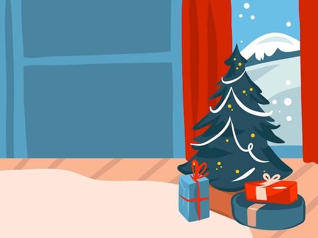 手描きの抽象的なストックメリークリスマス